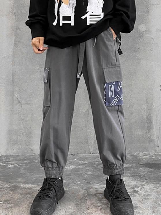 Letter Print Patchwork Pocket Cargo Pants - الرمادي الداكن S