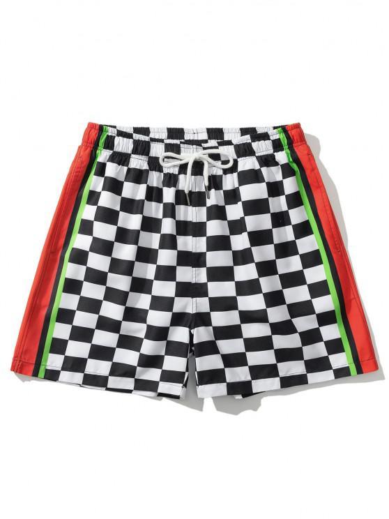 lady Colorblock Panel Checkerboard Print Shorts - WHITE 2XL
