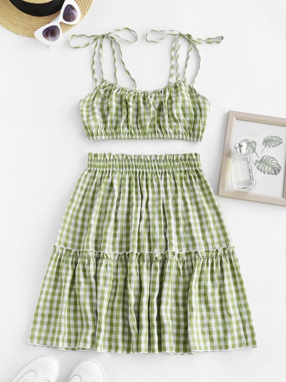fashion Gingham Tie Shoulder Smocked Ruffle Tiered Skirt Set - LIGHT GREEN S