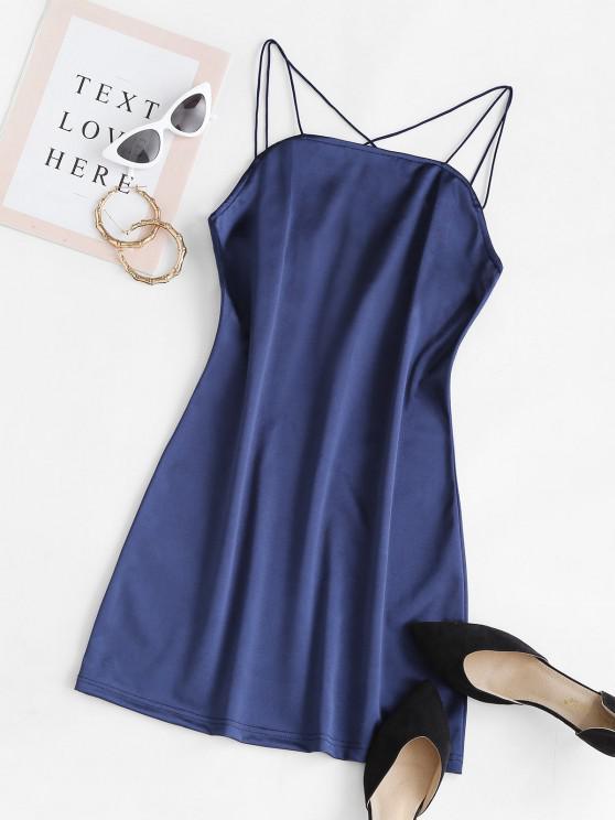 Vestido Cami Moderno com Cruzamento de Linhas Bordadas - Azul Escuro S