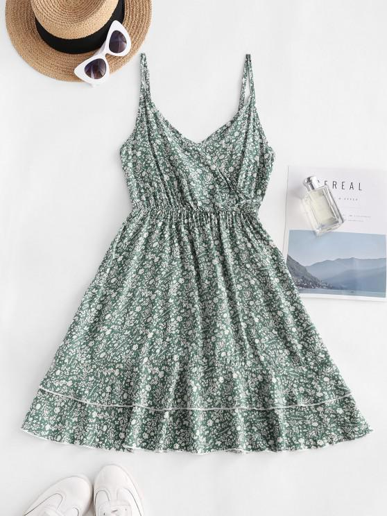 women Ditsy Print Smocked Back Flouned Hem Surplice Sundress - GREEN L
