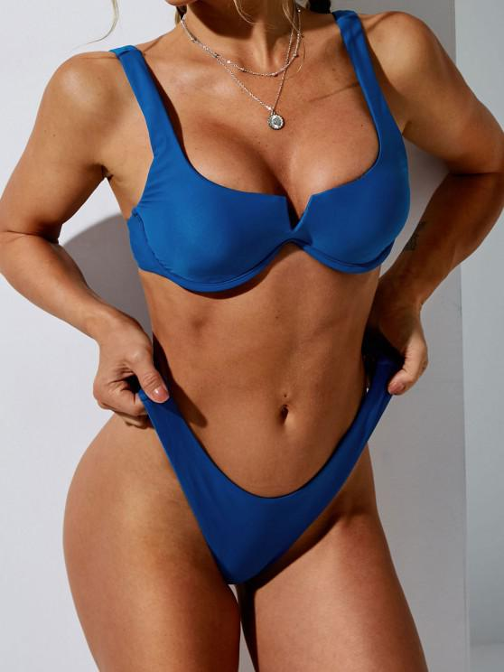 affordable ZAFUL Monowire High Cut V-wire Bikini Swimwear - BLUE S