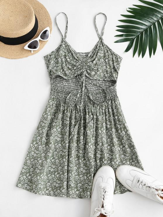 affordable Ditsy Floral Cutout Smocked Cami Sundress - LIGHT GREEN M