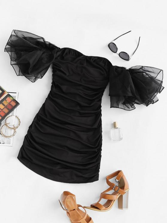 ladies Organza Layered Sleeve Ruched Off Shoulder Dress - BLACK L