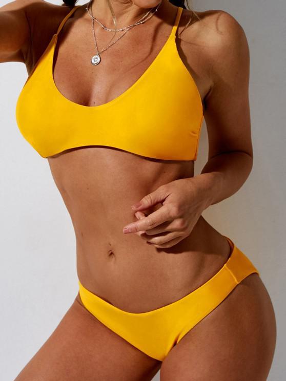 women's ZAFUL Solid Bralette Bikini Swimsuit - DEEP YELLOW M