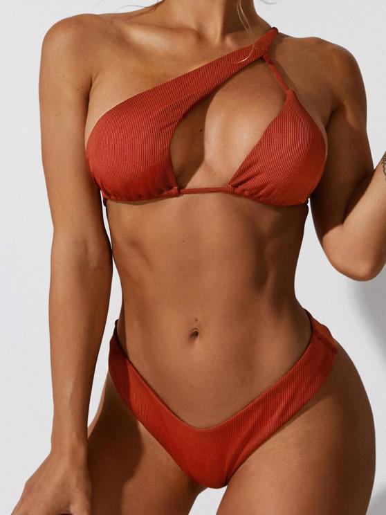 new ZAFUL One Shoulder Ribbed Cutout High Leg Bikini Swimwear - DEEP RED S