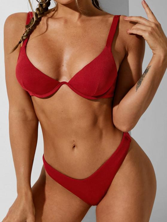 best ZAFUL Ribbed Monowire High Leg Bikini Swimwear - DEEP RED S