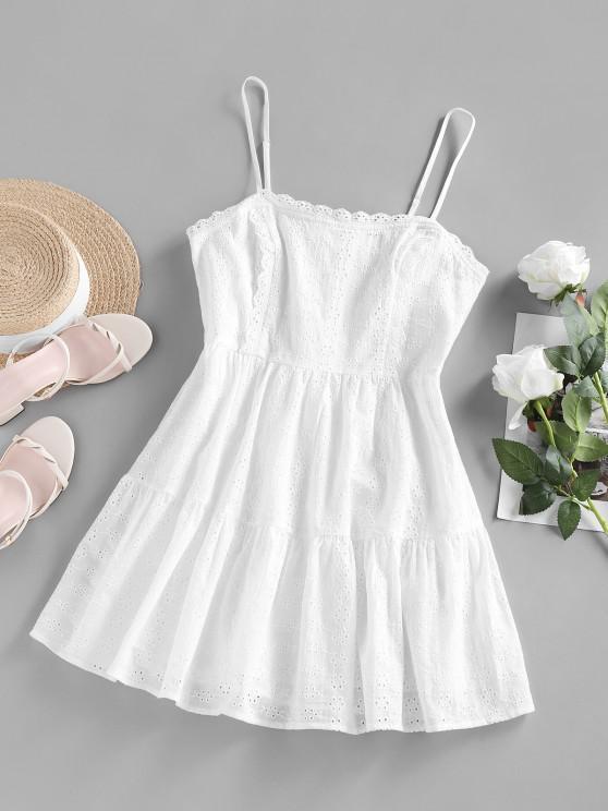 ZAFUL Mini Robe Métallisée et Sangle en Dentelle Brodée Plateforme - Blanc S