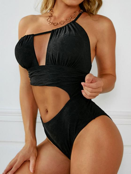ZAFUL Broderie Anglaise One Shoulder Cutout One-piece Swimsuit - أسود S