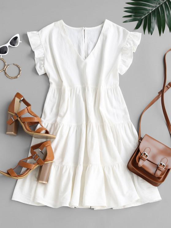 buy ZAFUL Ruffle Armhole Tiered Mini Dress - WHITE M