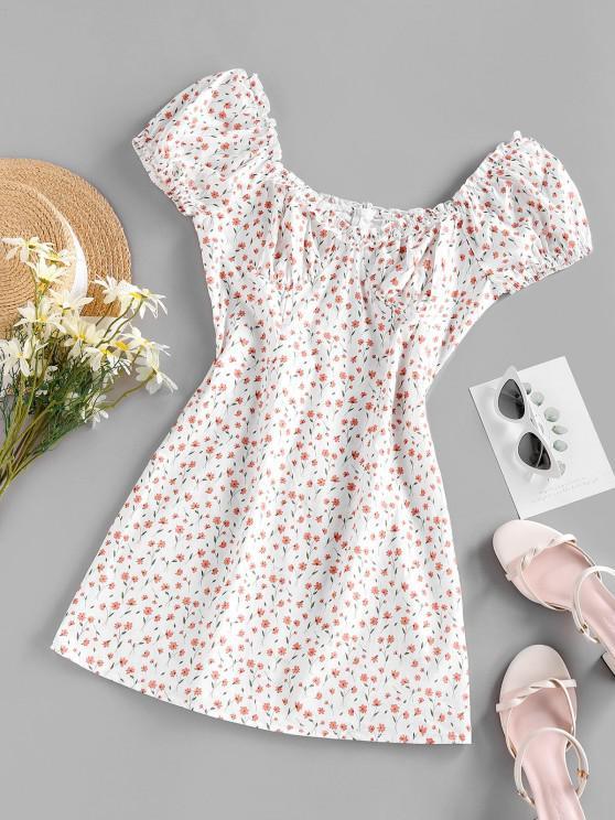 ZAFUL Mini-Robe Fleurie Imprimée à Manches Bouffantes - Blanc M