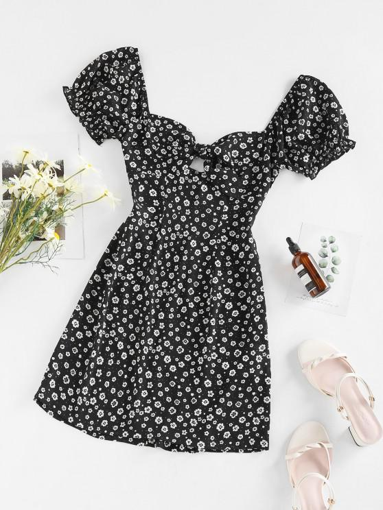 ZAFUL Robe Fleur Nouée à Manches Bouffantes à Lacets - Noir S