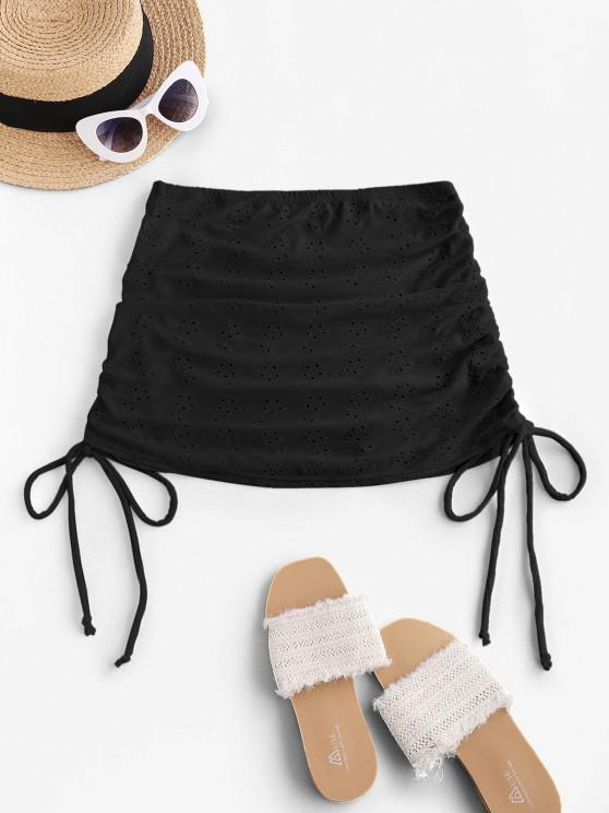 ZAFUL Broderie Anglaise Cinched Side Mini Beach Skirt - أسود S