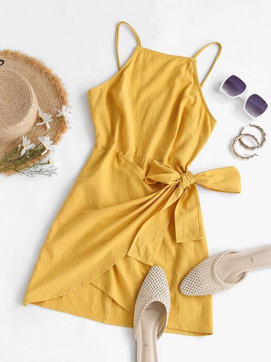 buy ZAFUL Tie Knot Bodycon Mini Dress - YELLOW M