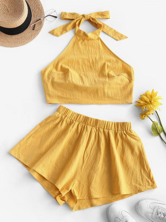 new ZAFUL Tie Open Back Cropped Two Piece Set - YELLOW M
