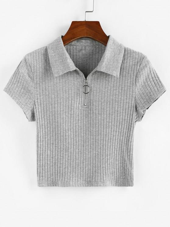 ZAFUL Camiseta Ajustada con Cremallera - Gris S