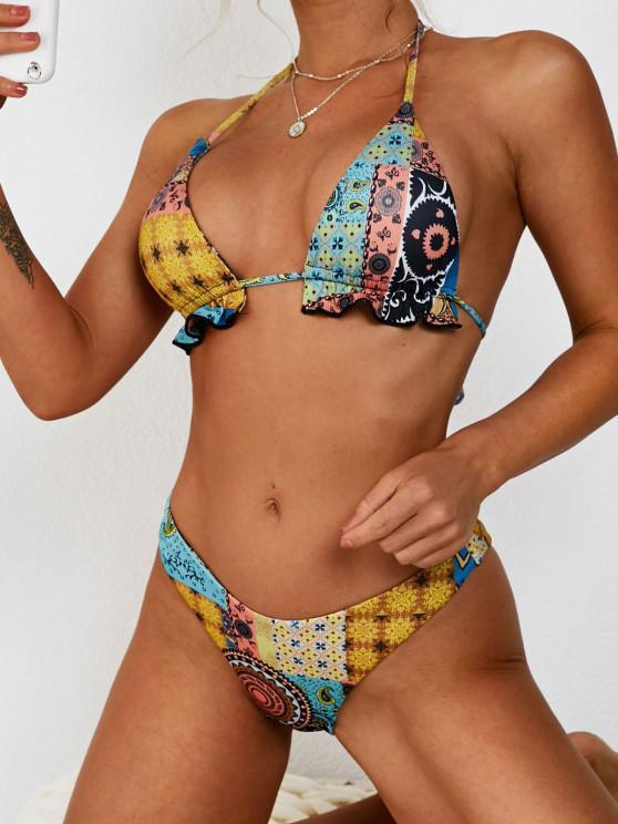 ZAFUL Ethnic Print High Cut Frilled Ribbed Bikini Swimwear - قهوة S
