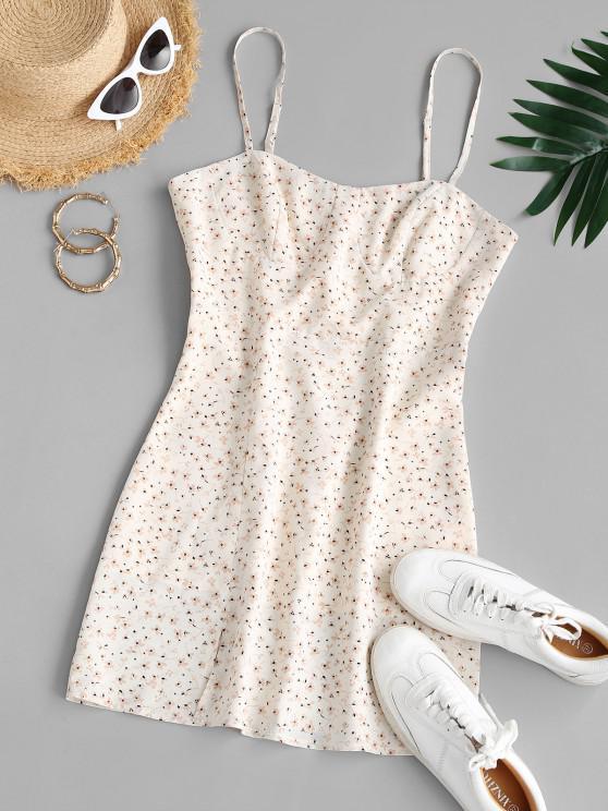 new ZAFUL Tiny Floral Print Front Slit Mini Dress - WHITE L