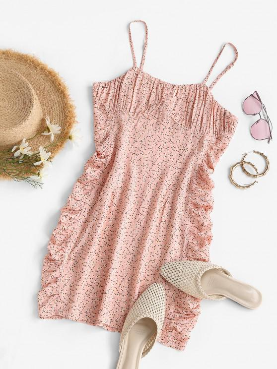 affordable ZAFUL Tiny Floral Print Ruched Mini Dress - LIGHT PINK S