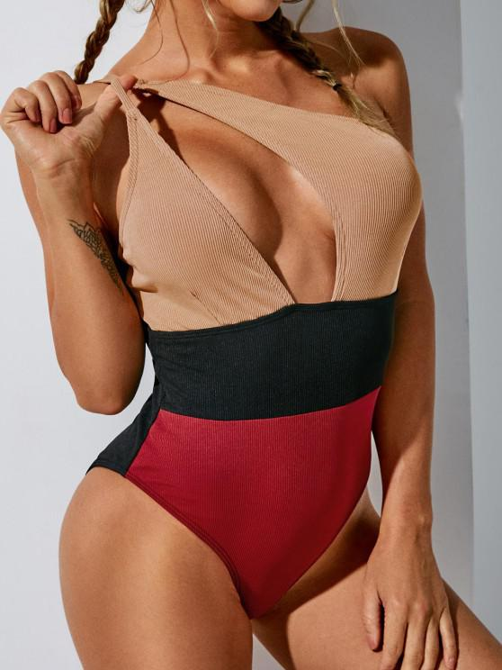 ZAFUL Ribbed Colorblock One Shoulder One-piece Swimsuit - متعدد S