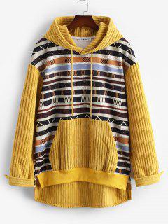 Tribal Print Kangaroo Pocket Ribbed Hoodie - Yellow M