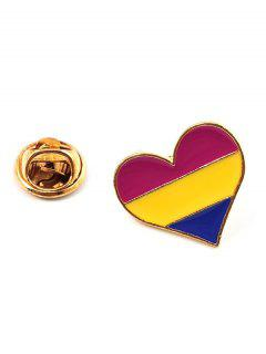 Heart Shape Rainbow Stripe Brooch - Multi-c