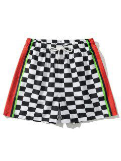Colorblock Panel Checkerboard Print Shorts - White M