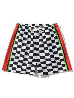 Pantaloncini Hawaiani A Blocchi Di Colori Abbelliti Con Motivo Floreale - Bianca L