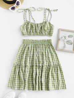 Gingham Tie Shoulder Smocked Ruffle Tiered Skirt Set - Light Green L