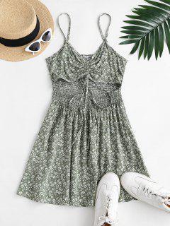 Ditsy Floral Cutout Smocked Cami Sundress - Light Green M