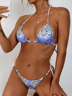 ZAFUL Ethnic Print Heart Ring Tie Side String Bikini Swimwear - Light Blue L