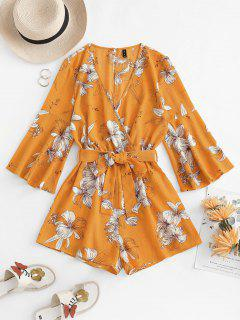 Flower Print Bell Sleeve Belted Surplice Romper - Yellow L