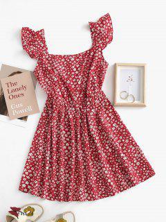 ZAFUL Floral Print Ruffle Armhole Mock Button Flare Dress - Deep Red M