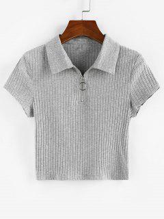T-Shirt A Costine Con Cerniera Di ZAFUL - Grigio M