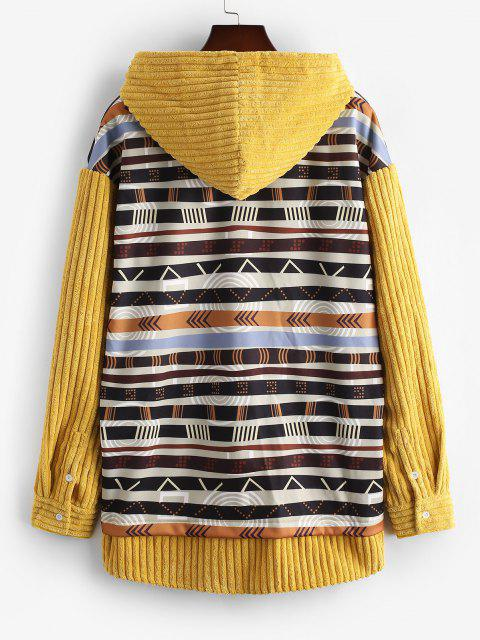 affordable Tribal Print Kangaroo Pocket Ribbed Hoodie - YELLOW L Mobile