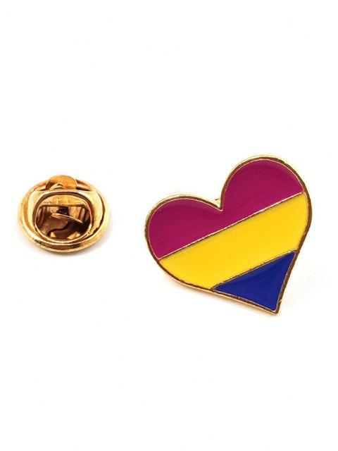 best Heart Shape Rainbow Stripe Brooch - MULTI-C  Mobile