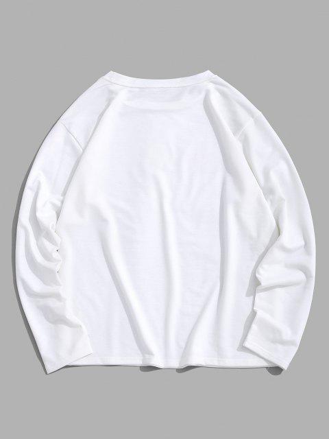 women's ZAFUL Cartoon Mushroom Print Pullover Sweatshirt - WHITE M Mobile
