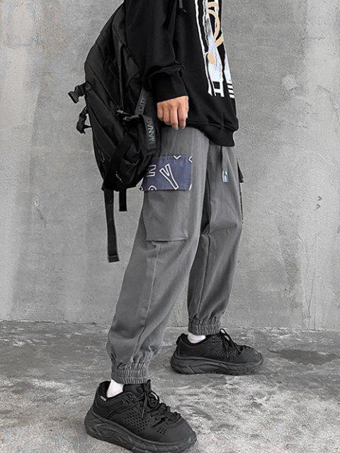 shop Letter Print Patchwork Pocket Cargo Pants - DARK GRAY S Mobile