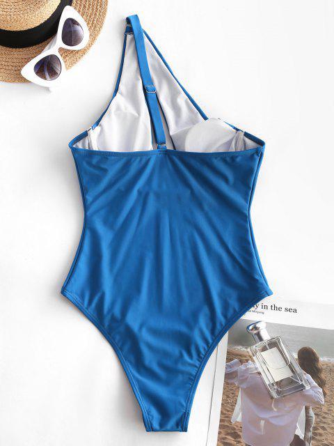 Costume Intero Imbottito a Monospalla DI Zaful - Blu L Mobile