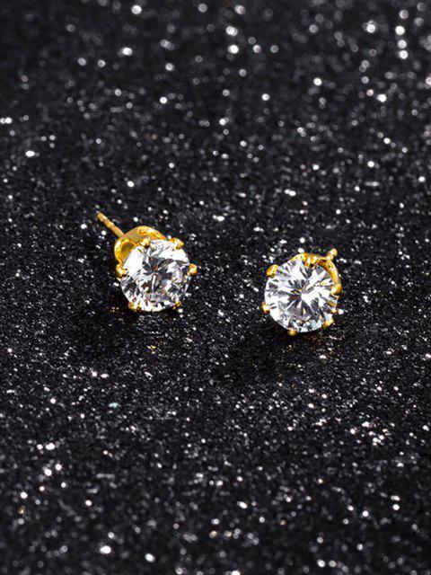 Zircon Inlaid Stud Earrings - ذهبي  Mobile