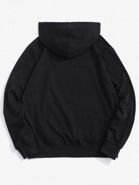 trendy Senpai Japanese Print Front Pocket Hoodie - BLACK 2XL Mobile