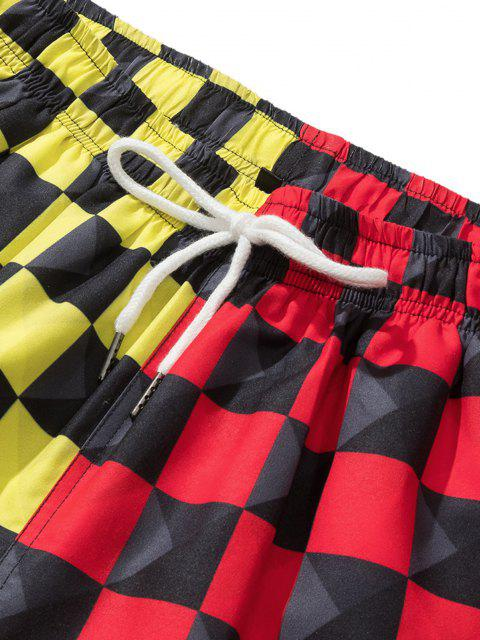 best Colorblock Checkerboard Pattern Shorts - RED XL Mobile