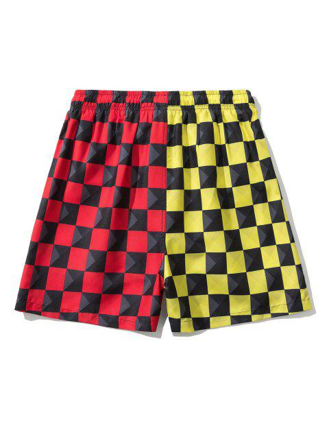 Colorblock Checkerboard Pattern Shorts - أحمر M Mobile