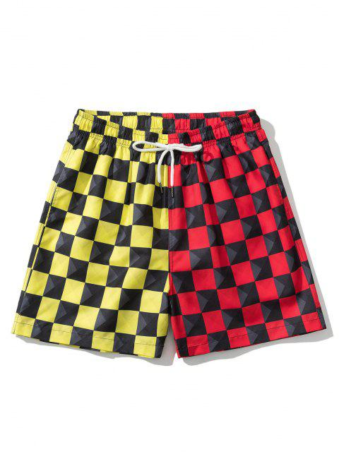 hot Colorblock Checkerboard Pattern Shorts - RED M Mobile