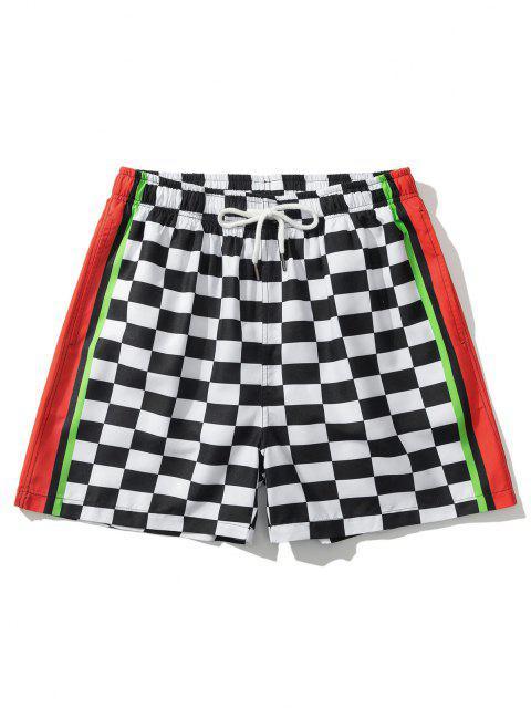 lady Colorblock Panel Checkerboard Print Shorts - WHITE 2XL Mobile