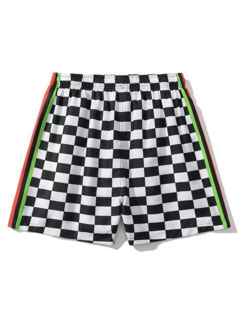 best Colorblock Panel Checkerboard Print Shorts - WHITE XL Mobile