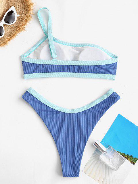 Costume da Bagno Bikini a Costine a Contrasto di ZAFUL a Taglio Alto - Azzurro S Mobile