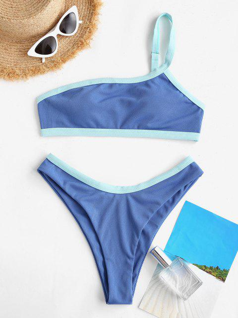 latest ZAFUL Contrast Binding Ribbed High Cut Bikini Swimwear - LIGHT BLUE L Mobile