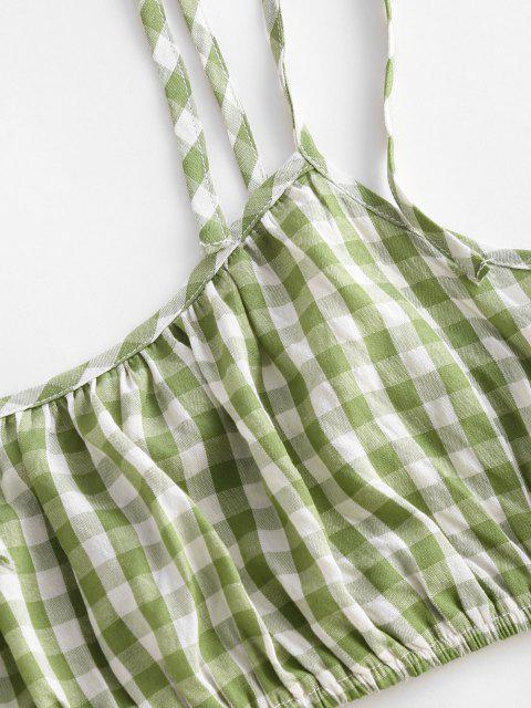 fashion Gingham Tie Shoulder Smocked Ruffle Tiered Skirt Set - LIGHT GREEN S Mobile