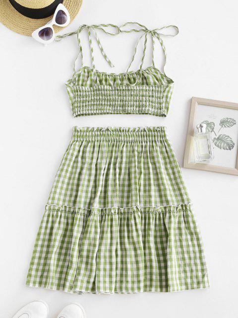 Gingham Tie Shoulder Smocked Ruffle Tiered Skirt Set - اخضر فاتح M Mobile